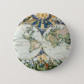 Vintage Antique Old World Map, 1666 by Pieter Goos 2 Inch Round Button