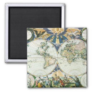 Vintage Antique Old World Map, 1666 by Pieter Goos Square Magnet