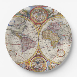 Vintage Antique Old World Map cartography 9 Inch Paper Plate