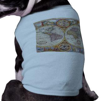 Vintage Antique Old World Map cartography Dog T Shirt