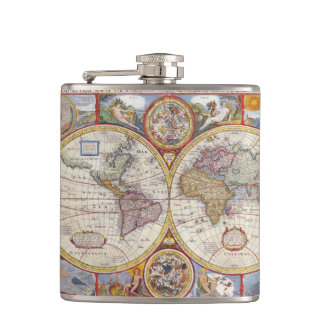 Vintage Antique Old World Map cartography Flask