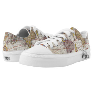 Vintage Antique Old World Map cartography Low-Top Sneakers