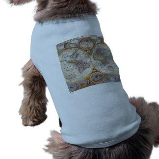 Vintage Antique Old World Map cartography Pet Shirt