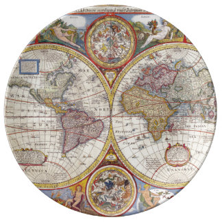Vintage Antique Old World Map cartography Porcelain Plates