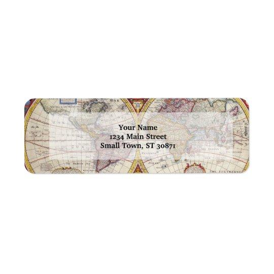 Vintage Antique Old World Map cartography Return Address Label