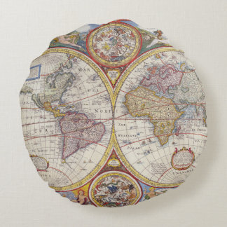 Vintage Antique Old World Map cartography Round Pillow