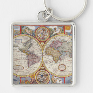 Vintage Antique Old World Map cartography Silver-Colored Square Keychain
