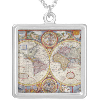 Vintage Antique Old World Map cartography Silver Plated Necklace