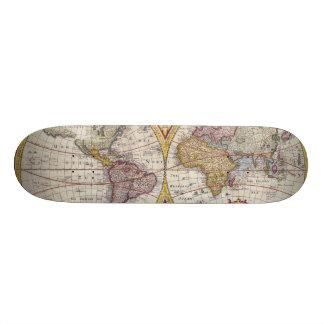 Vintage Antique Old World Map cartography Skate Deck