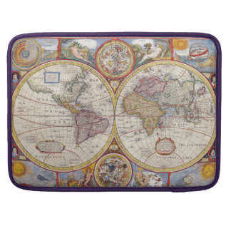 Vintage Antique Old World Map cartography Sleeves For MacBooks