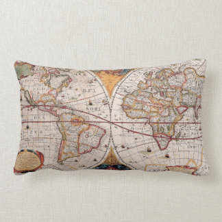 Vintage Antique Old World Map Design Faded Print Lumbar Pillow
