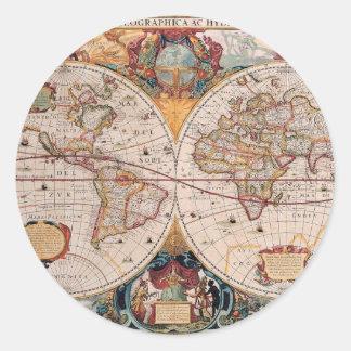 Vintage Antique Old World Map Design Faded Print Round Sticker