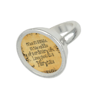 Vintage Antique Orange with Love Quote Photo Ring