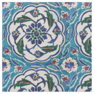 Vintage Antique Ottoman Turkish Iznik Tile Fabric
