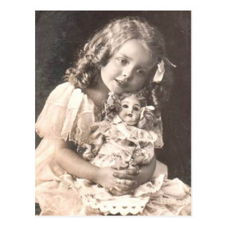 Vintage Antique Portrait of a Girl and her Doll Postcard