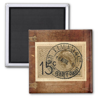 Vintage Antique Postage Stamp Print Magnet