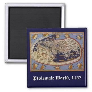 Vintage Antique Ptolemaic World Map, 1482 Square Magnet