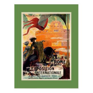 Vintage antique Rome 1911 expo travel ad Postcard