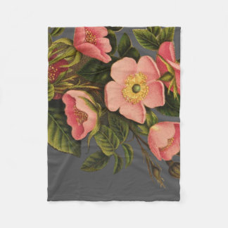 Vintage Antique Rose Art Drawing Elegant Fleece Blanket
