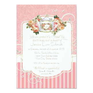 "Vintage Antique Roses Floral Bouquet Modern Swirls 5"" X 7"" Invitation Card"