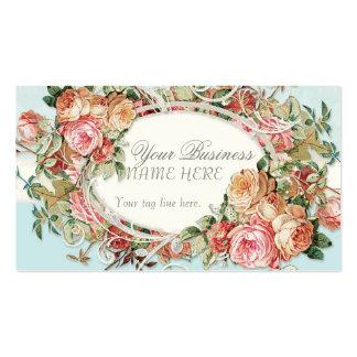 Vintage Antique Roses Floral Bouquet Modern Swirls Business Card Template