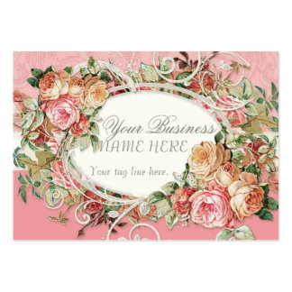 Vintage Antique Roses Floral Bouquet Modern Swirls Business Cards