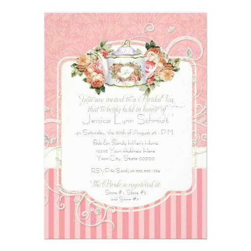 Vintage Antique Roses Floral Bouquet Modern Swirls Personalized Invite
