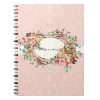 Vintage Antique Roses Floral Bouquet Modern Swirls Notebooks