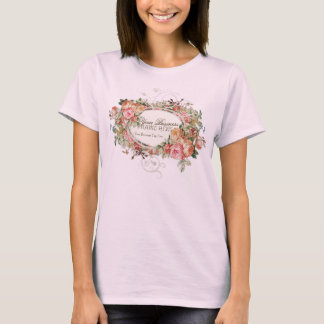 Vintage Antique Roses Floral Bouquet Modern Swirls T-Shirt