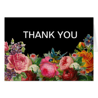 Vintage Antique Roses Thank You Cards