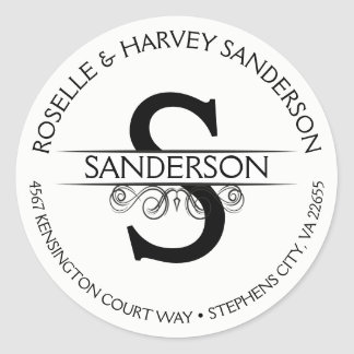 Vintage Antique Round Circular Name and Address Classic Round Sticker