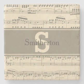 Vintage Antique Sheet Music Monogram Stone Stone Coaster