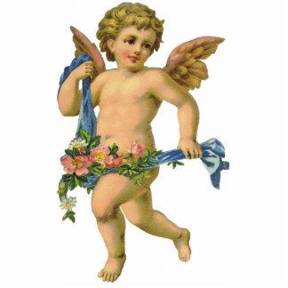 Vintage / Antique Striding Angel Cherub Ornament Photo Sculpture Ornament