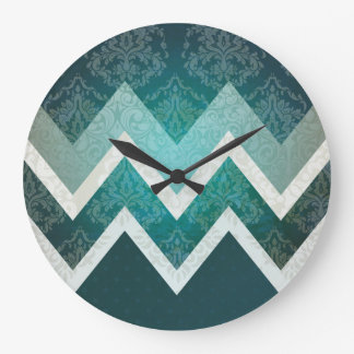 Vintage Antique Style Teal Chevron Design Large Clock
