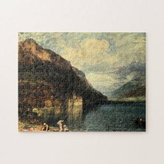 Vintage Antique Switzerland Castle Chillon Jigsaw Puzzle