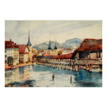 Vintage Antique Switzerland Lucerne Chapel Bridge Poster