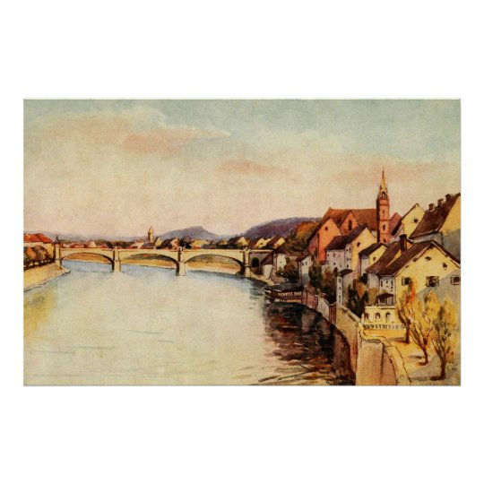 Vintage Antique Switzerland Rhine River Basel Poster