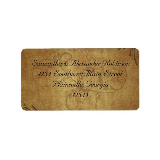 Vintage Antique Teastain Swirl Wedding Label