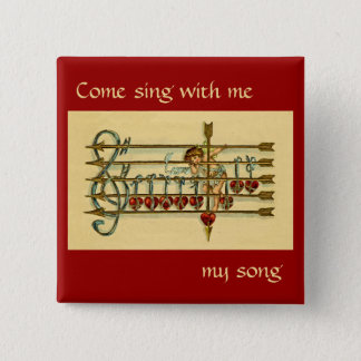 Vintage Antique Valentine's Day Music Pin