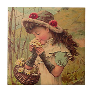 Vintage Antique Victorian Flower Girl Fashion Tile