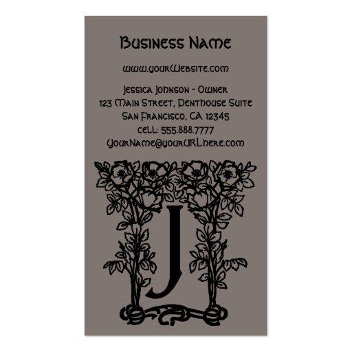 Vintage Antique Victorian Monogram Letter J Business Card