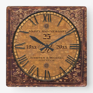 Vintage Antique Wedding Anniversary Square Wall Clock