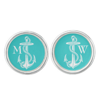 Vintage Antique White Anchor Turquoise Background Cuff Links