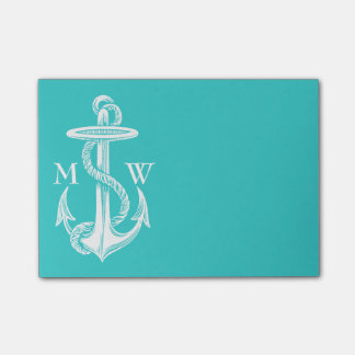 Vintage Antique White Anchor Turquoise Background Post-it Notes
