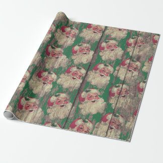 vintage antique Wood Santa Holiday wrapping paper