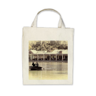 Vintage Antiqued Rowboat Photo of Central Park Tote Bags