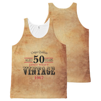 Vintage Any Age and Year Birthday All-Over-Print Tank Top