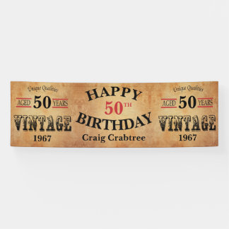 Vintage Any Age and Year Birthday Design Banner