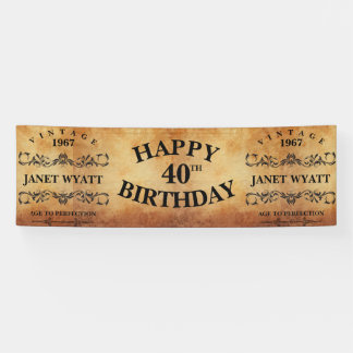 Vintage Any  Age Birthday Design Banner