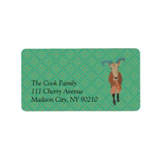 Vintage Aoudad Label Address Label